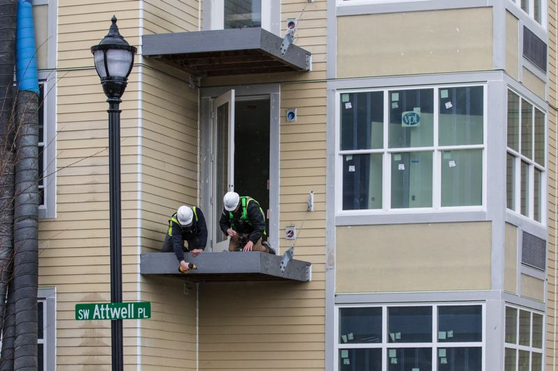 TIMES PHOTO: JONATHAN HOUSE - Construction is underway along the newly named Attwell Place in downtown Tigard. Formal naming of the tiny dead-end street required action by the Tigard City Council this month.