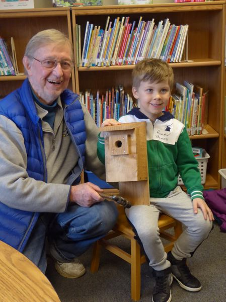 COURTESY PHOTO - Pictured is volunteer Don Jeanroy and Rowan Thomas after completing the construction of their birdhouse.