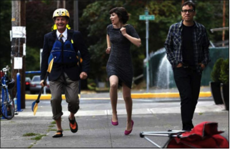 PAMPLIN MEDIA GROUP: JAIME VALDEZ - Actors Kyle MacLachlan, Carrie Brownstein and Fred Armisen skip back to the beginning of a scene during filming of an episode of Portlandia.