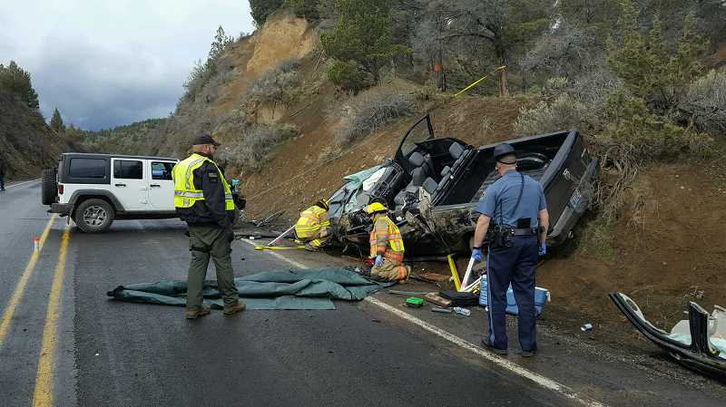 PHOTO COURTESY OF OREGON STATE POLICE - The driver of this Dodge Ram, Scotty Ledford, was killed in a Saturday morning crash.