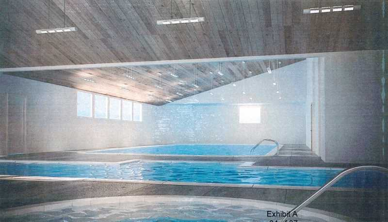 COURTESY OF THE KING CITY CIVIC ASSOCIATION - An architect's rendering of the interior of the Aquatic Center shows the original swimming pool in the background, the new lap pool in the middle and the 12-foot spa in the foreground.