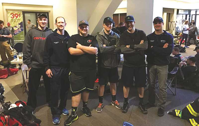MFD - The Molalla stairclimb team included six firefighters, L-R:  FF/EMT Austin Winters, FF/EMT Jeff Kirkpatrick, FF/Paramedic Bryce Estabrook, FF Tim Hohnbaum, FF/Paramedic Tim Durkee and FF Joe Shinen.