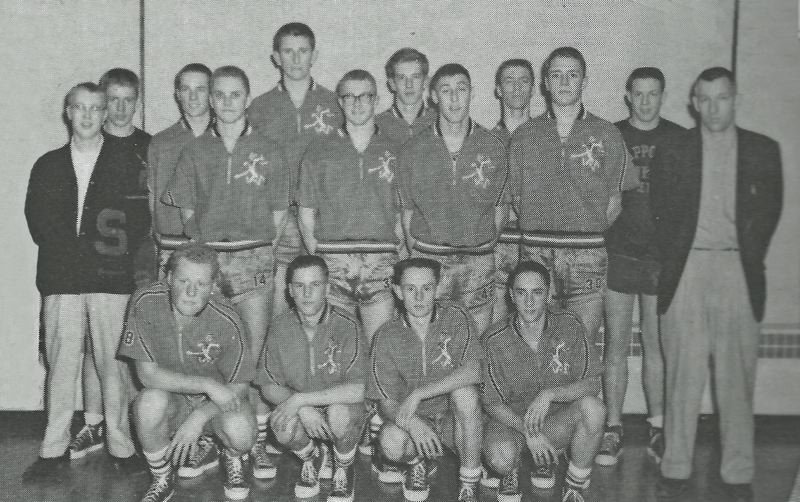 PHOTO COURTESY: SCAPPOOSE HIGH SCHOOL BOOSTER CLUB - The 1961 Indians boys' basketball team: Back row, from left, Wayne Gessford, Tory Johnson, Jim Smith, Dave Kuchera, Vern Colvin and John Wiek; Middle row, from left, Brent Forsberg, Ron Kuchera, Larry Martin, Dan Delk, John Harris and coach Dick Morgan; Front row, from left, Buck Karp, Gary Brown, Ken Vintis and Harold Olsen.