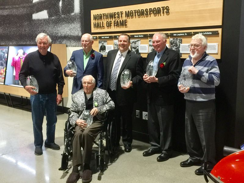 COURTESY WORLD OF SPEED - From left to right, Hershel McGriff, Dale LaFollette, Rolla Vollstedt (seated), Bob Lanphere, Jr., Monte Shelton, Jack Coonrod. Together, they form the inaugural 2017 class of inductees to the Northwest Motorsports Hall of Fame at World of Speed Museum in Wilsonville.