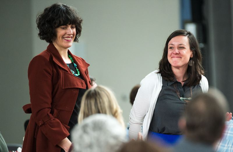 OUTLOOK PHOTO: JOSH KULLA - Family of Friends Executive Director Michelle Kosta and Program Manager Allison Yoder were recognized Wednesday for their work connecting at-risk youth with adult mentors.