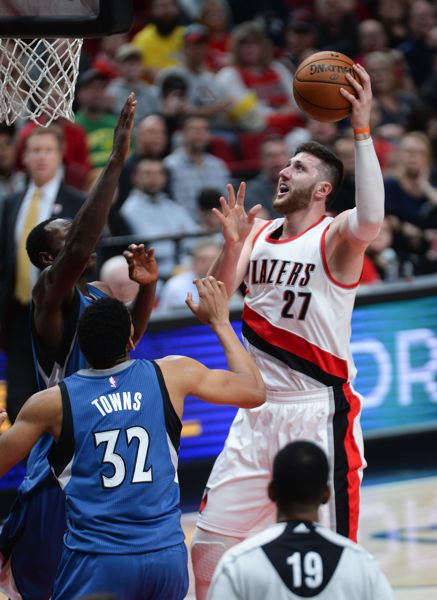 TRIBUNE PHOTO: JOSH KULLA - Trail Blazers center Jusuf Nurkic goes to the basket Saturday night against Minnesota.