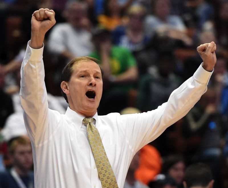 TRIBUNE FILE PHOTO: KIRBY LEE - Pollsters dropped coach Dana Altman's Oregon Ducks out of the national rankings early in the season, but now the team is in the NCAA Final Four for the first time since, well, the first time.