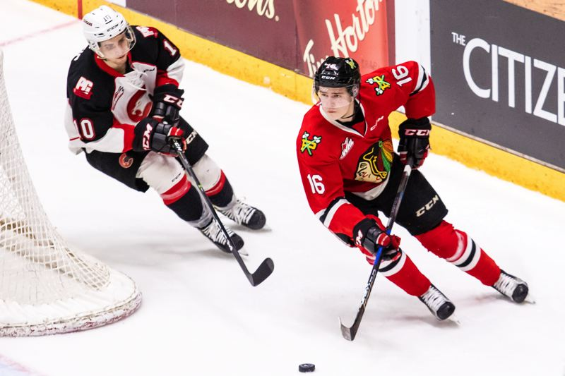 COURTESY: BRETT CULLEN - Portland Winterhawks defenseman Henri Jokiharju looks up the ice during a Sunday night playoff game at Prince George.