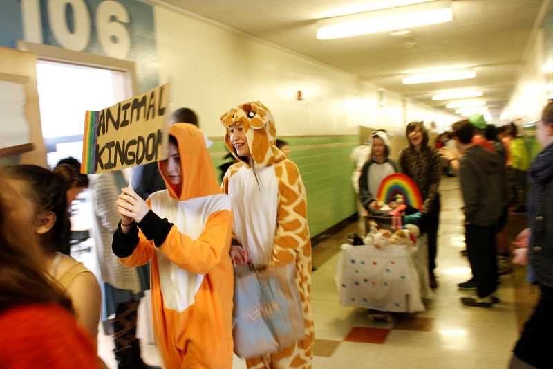 CONNECTION PHOTOS: HANNAH RANK - It takes Robert Gray Middle School's eighth-grade students about three weeks to design and implement their parade floats, which take on a variety of themes.