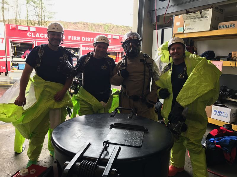 PHOTO COURTESY: CLACKAMAS FIRE - Pictured from left to right are Alan Pernich, Brian Baker, Rick Parker and Micah Shelton