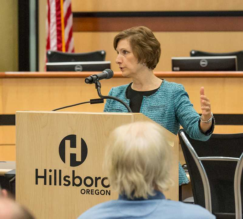 HILLSBORO TRIBUNE FILE PHOTO - Rep. Suzanne Bonamici speaks during a town hall meeting at the Hillsboro Civic Center last summer. Bonamici was among several Oregon lawmakers to speak out in opposition to an executive order signed by President Donald Trump on Tuesday.