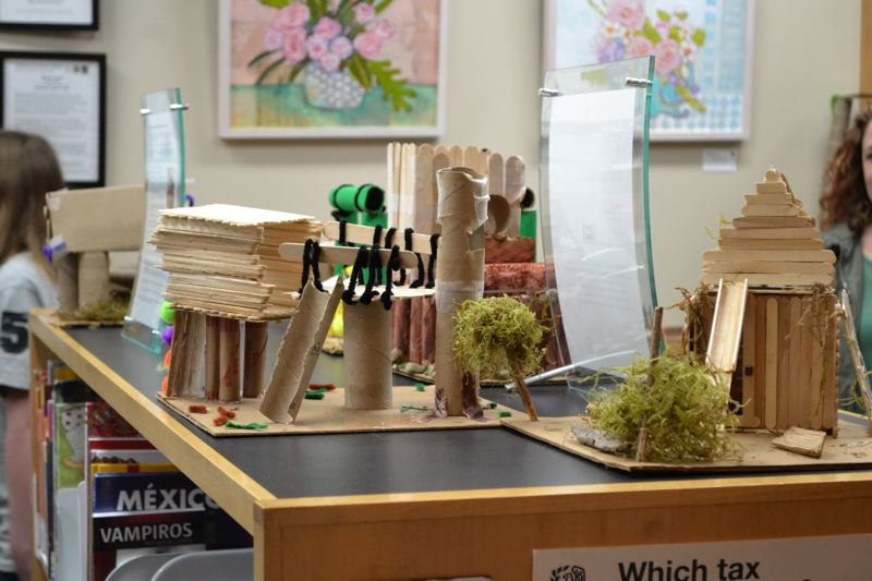 POST PHOTO: BRITTANY ALLEN - Cardboard creations and pipe cleaner pieces featured prominently among students' designs.
