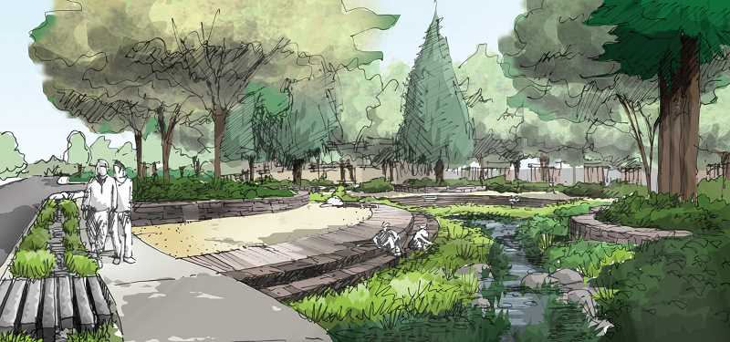 COURTESY OF THE LAKE OSWEGO-TIGARD WATER PARTNERSHIP - A rendering of the rain garden shows the terraced seating that will surround the stormwater basin.