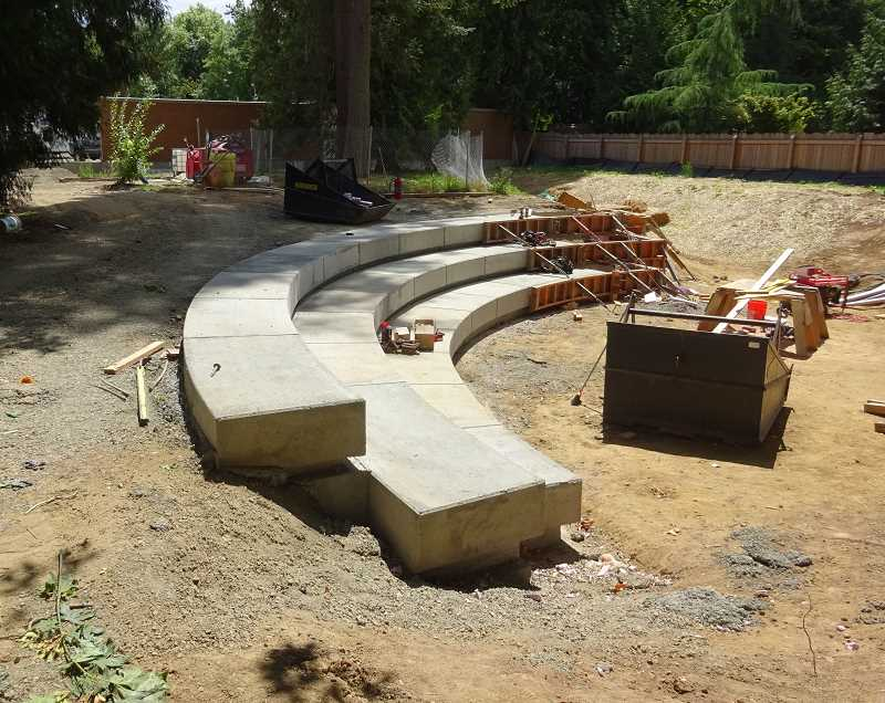 COURTESY OF THE LAKE OSWEGO-TIGARD WATER PARTNERSHIP - Contractors have poured some of the concrete for the terraced seating, but much of the rain garden has yet to be installed.