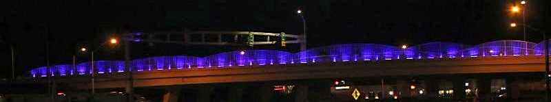 COURTESY PHOTO: CITY OF WOODBURN - The I-5 overpass lights at the Woodburn exit will glow blue the first two weeks in April in honor of National Child Abuse Prevention Month.