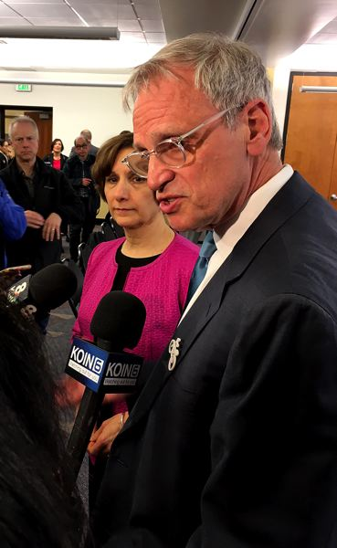 TRIBUNE PHOTO: PETER WONG - U.S. Reps. Earl Blumenauer, right, and Suzanne Bonamici speak to reporters Friday, March 31, after panel discussion of their bill to put some areas off-limits to arrest by federal immigration agents.