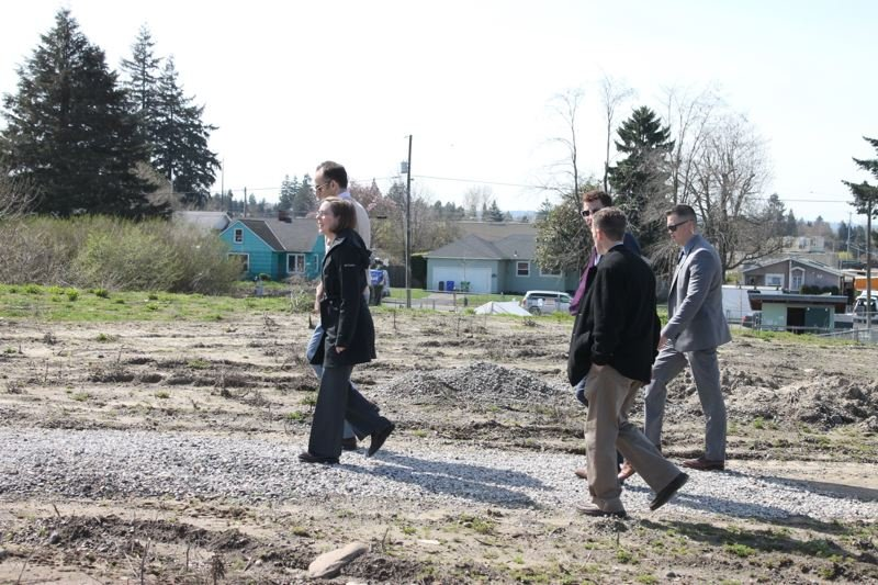 TRIBUNE PHOTO: LYNDSEY HEWITT - Governor Kate Brown took a tour of the future Thomas Cully Park in Northeast Portland on Monday.