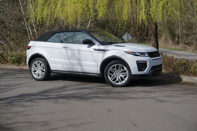 PORTLAND TRIBUNE: JEFF ZURSCHMEIDE - With the top up, the 2017 Range Rover Evoque presents a low profile, but there's ample room for a 6-foot driver inside.