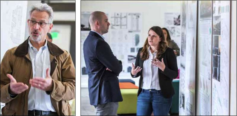 PAMPLIN MEDIA GROUP: JON HOUSE - LEFT: Rich Mitchell, managing partner of Mackenzie, talks about bringing NewSchool students in to reimagine the Ford District. RIGHT: NewSchool student Megan Lester talks about her team's contribution to the Ford District project.