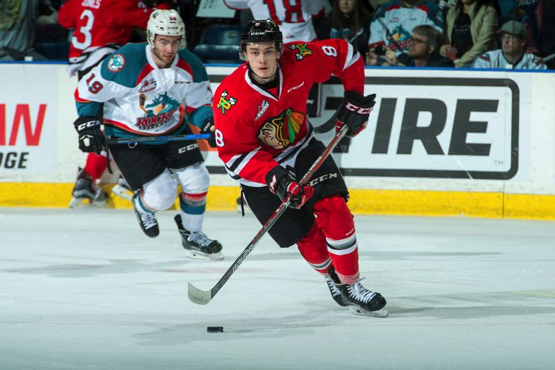 COURTESY: MARISSA BAECKER - Cody Glass of the Portland Winterhawks goes on the attack against the Kelowna Rockets in Game 1 of their second-round Western Hockey League playoff series Friday night at Kelowna, British Columbia.