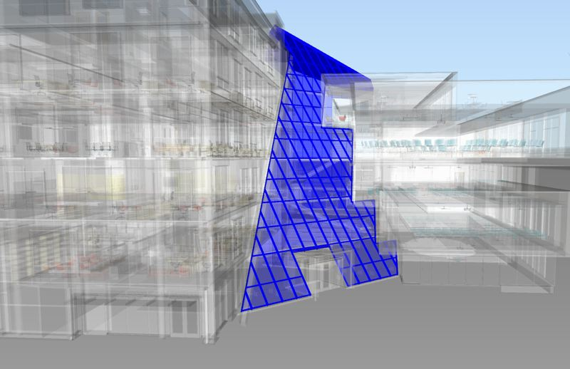COURTESY: SKANSKA - 3D modellig shows the angled glass as it leans against the old building. The model could translate two didffernt types of coordinates so that builders could exactly mark with paint where the glass would connect.