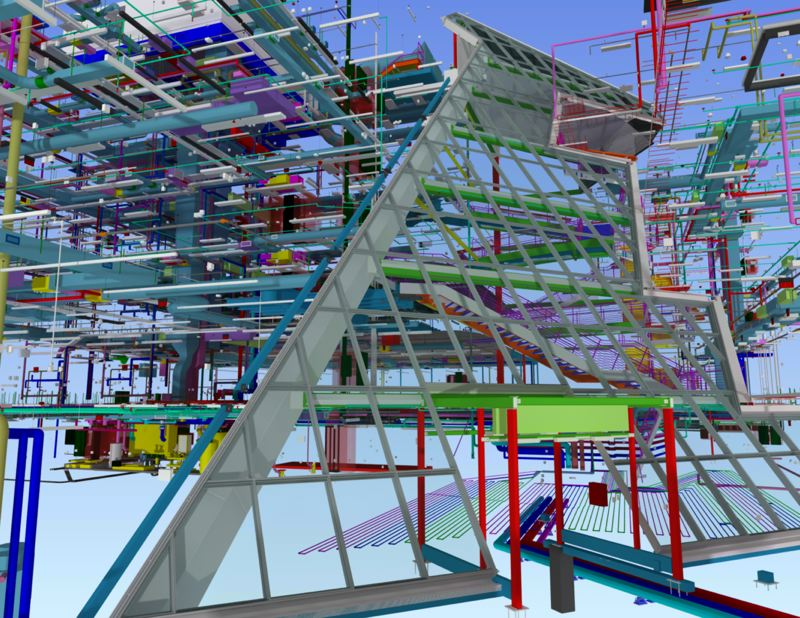 COURTESY: SKANSKA - The many-layered computer model of {SU's new business school, which can be viewed in HTC Vive virtual reality.