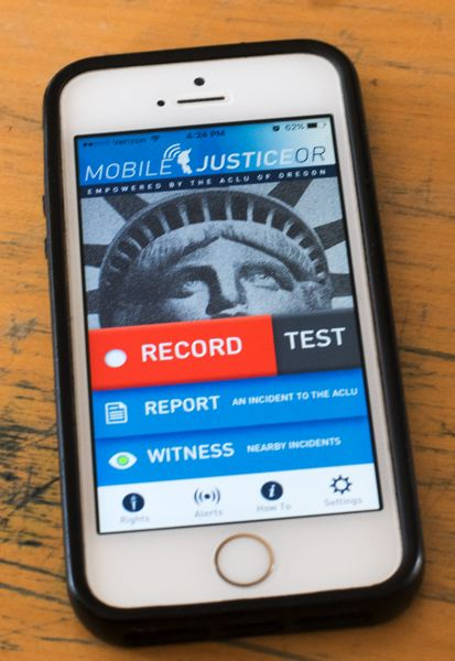 OUTLOOK PHOTO: JOSH KULLA - The ACLU released its Mobile Justice app in 2015. It allows the user to make video clips that automatically upload directly to ACLU servers to preserve a copy in case it is deleted.