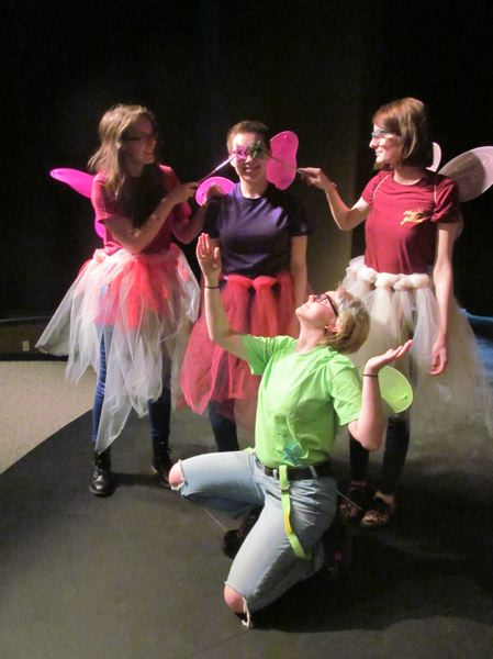 PHOTO BY ELLEN SPITALERI - Front, Haley Bliss, and from left, Morghan Rash, Madi Clark and Kayle McCracken prepare for fairy mischief in the musical.