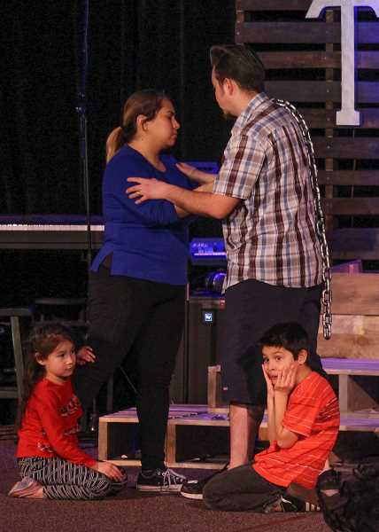 MARCUS STOREY - Families perform in the production presented by Molalla Nazerene Church opening Friday