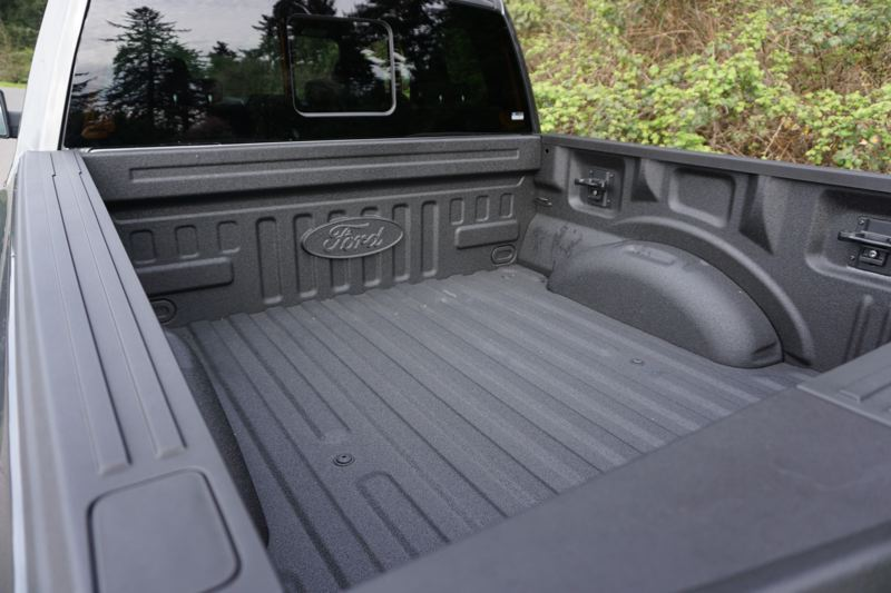 PORTLAND TRIBUNE: JEFF ZURSCHMEIDE - The Raptor comes with a full crew cab, plus a 5.5-foot truck bed with a spray-in bed liner and special tie-down and bed divider accessories.