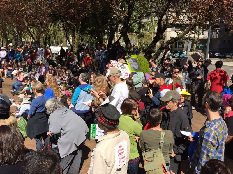 KOIN 6 NEWS - Hundreds of people rallied in downtown Portland on April 15 as part of a national movement urging Donald Trump to release his tax returns.