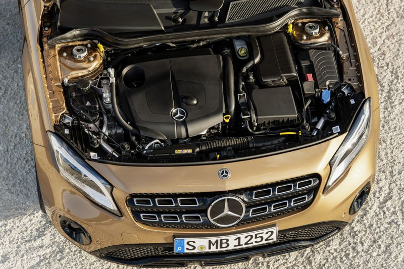 COURTESY MERCEDES BENZ - The turbocharged 2.0-liter four cylinder engine in the 2018 Mercedes-Benz GLA250 pumps out 208 horsepower, which is plenty for such a small crossover.