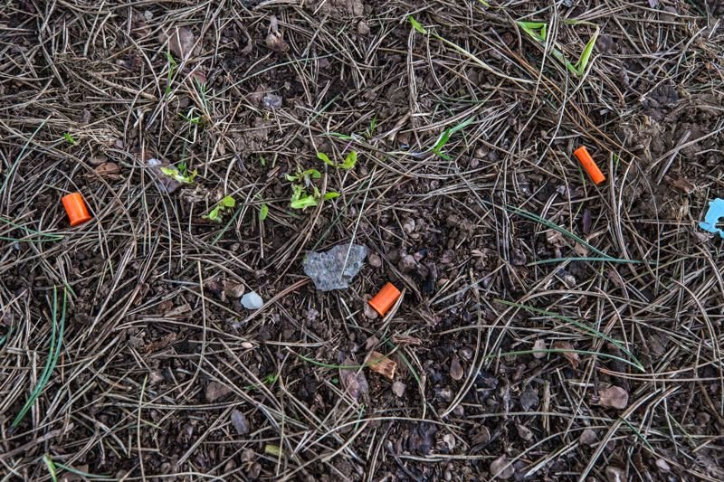 TRIBUNE PHOTO: JONATHAN HOUSE - Orange caps, detatched from their syringes, are easy to find along the I-205 Multi-Use Path in the Southeast Portland neighborhood of Lents. Their pointy countparts had been cleaned up.