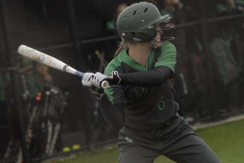 ESTACADA NEWS: MATT RAWLINGS - Izzy Hagel takes a hack at a pitch in Estacada's 6-2 loss to Corbett
