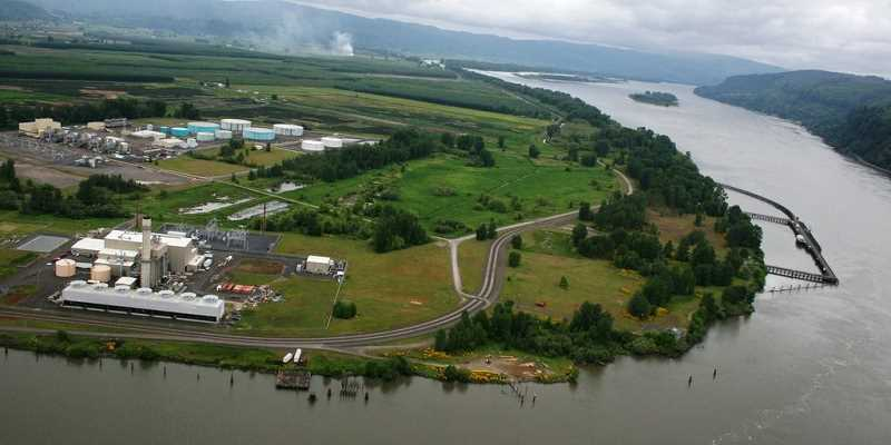 PORT OF ST. HELENS IMAGE - An aerial shot of Port Westward, on the Columbia River