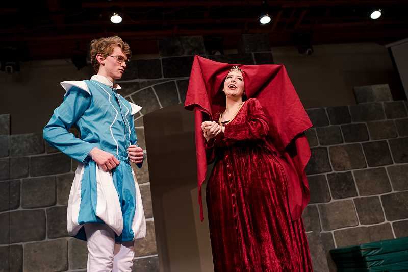 COURTESY PHOTO - Queen Aggravain (right), played by Jessie Turner, embraces her son Prince Dauntless, played by Ethan Golden, in Corbett Children's Theater's production of 'Once upon a Mattress.' The shows begin Friday, April 21.