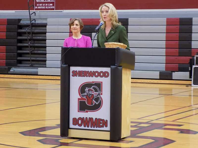 GAZETTE PHOTO: RAY PITZ - Mayor Krisanna Clark introduced U.S. Representative Susanne Bonamici during an appearance at Sherwood High on April 17.