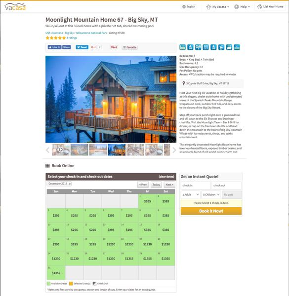 COURTESY: VACASA - A Vacasa rental in Montana. New software will allow Vacasa to use many more variables, such as weather and calendar, when pricing vacation homes.