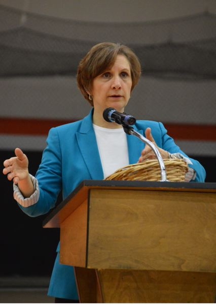 SPOTLIGHT PHOTO: COURTNEY VAUGHN - Congresswoman Suzanne Bonamici addresses a crowd during a town hall meeting Saturday in Scappoose.