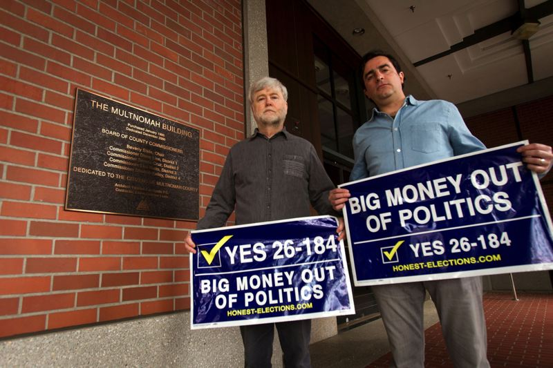 TRIBUNE PHOTO: JAIME VALDEZ - Dan Meek, left, and Jason Kafoury, pushed the Multnomah County Board of Commissioners to defend in court a campaign finance reform measure overwhelmingly approved by voters last November.