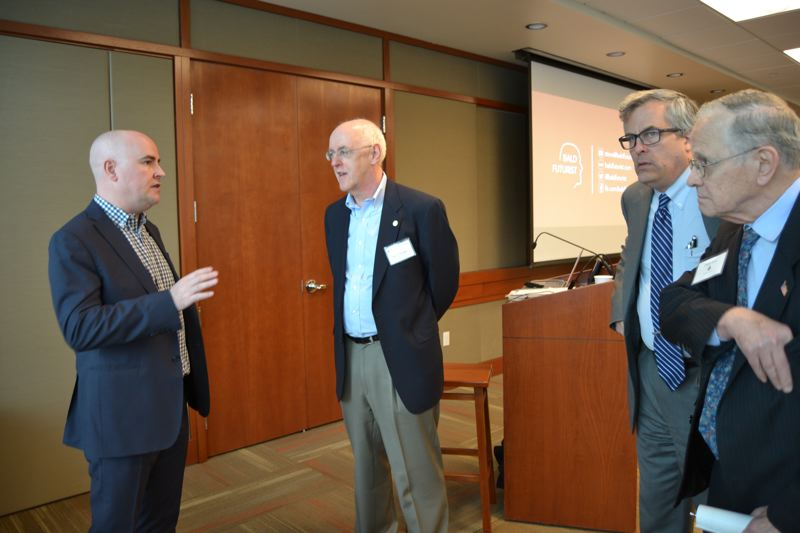 PAMPLIN MEDIA GROUP: JULES ROGERS - Steve Brown, CEO of Possibility & Purpose aka the Bald Futurist, met with businesspeople at the Kruse Way Economic Forum in Lake Oswego last week.