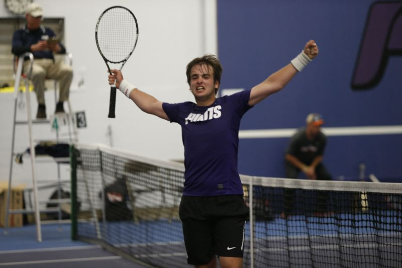 COURTESY: STEVE GIBBONS - Carlos Donat reacts after getting the final point to give the University of Portland the West Coast Conference regular-season title in men's tennis Friday at Louisiana-Pacific Tennis Center.