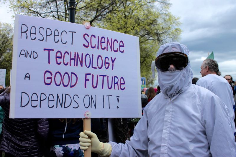 TRIBUNE PHOTO: LYNDSEY HEWITT - Bruce Adams, a Portland physicist, marched at the March for Science on Earth Day, Saturday, April 22.