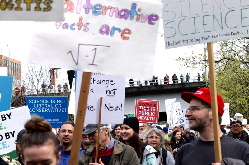TRIBUNE PHOTO: LYNDSEY HEWITT - Thousands marched starting at Tom McCall Waterfront Park with signs in support of science.