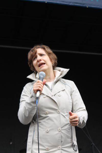 TRIBUNE PHOTO: LYNDSEY HEWITT - U.S. Rep. Suzanne Bonamici empowered the crowd on April 22.