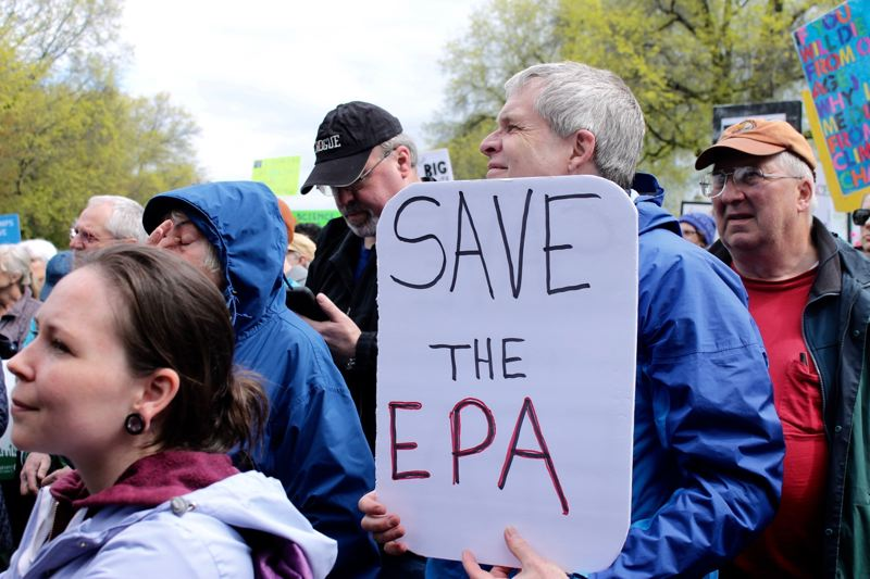 TRIBUNE PHOTO: LYNDSEY HEWITT - Many at the march are worried about cuts to funding and deregulations to science-related organiations and agencies by President Donald Trump's administration.