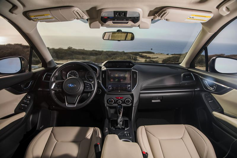 COURTESY SUBARU - The interior of the 2017 Subaru Impreza is contemporary and features higher quality materials. The EyeSight safety system (above the rearview mirror) is among the most advanced in the country.