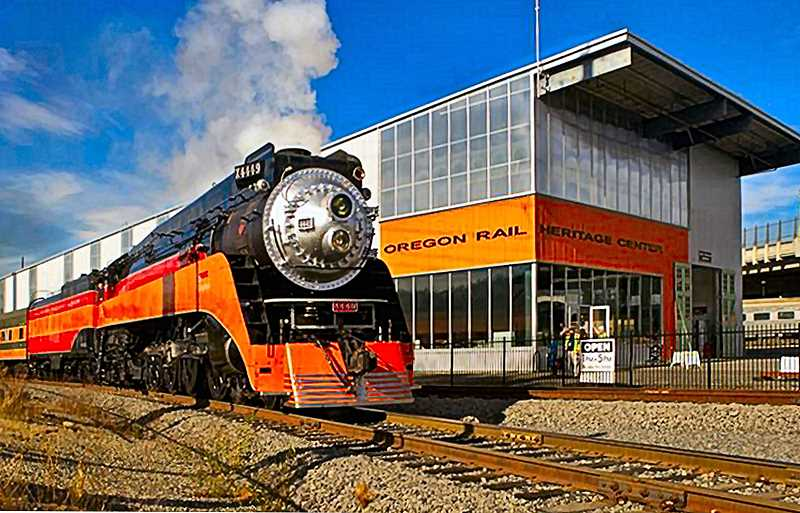 JAIME VALDEZ - The historic locomotive Southern Pacific 4449 waits to depart for Oaks Park from the Oregon Rail Heritage Center near OMSI, during the recent reunion of American Freedom Train supporters.