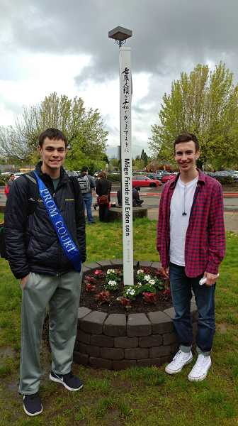 NEWS-TIMES PHOTO: STEPHANIE HAUGEN - Mitchell Faris (left) and Kyle Thompson are co-presidents of the schools Interact Club and were the lead students on the Peace Pole project.