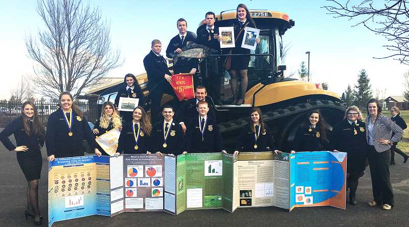 SUBMITTED - Newberg FFA teacher Bailey Fieldtook 16 students to the Oregon FFA State Convention March 17-24 in Redmond, bringing home four first-place agri-   science experiments awards and two FFA State Degrees.